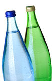 Two bottles of soda water, closeup royalty free stock photography