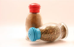 TWO BOTTLES WITH SPICE Stock Photography