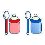 Two bottles with spoon  illustration. Two bottles with spoon Stock Photo