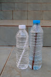 Two bottles on the stair. Two water bottles on the stair.They have been already drinking Royalty Free Stock Image