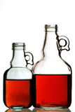 Two bottles with white background. Two bottles with red liquid before white background Royalty Free Stock Photo