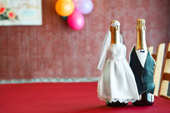 Two bottles of wine like bride and groom Royalty Free Stock Image