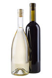 Two bottles of wine - red and white Stock Images