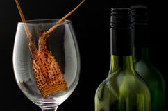 Two bottles of wine and a wine glass Stock Photography