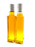 Two bottles with yellow linen oil Stock Photo