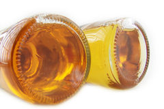 Two bottoms. Macro of two bottle with beer Stock Images