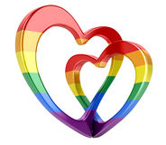 Two bound color hearts Royalty Free Stock Image