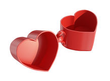Two bound heart-shaped cups. 3d render of two bound heart-shaped cups Royalty Free Stock Images