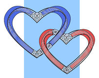 Two bound hearts. Vector illustration Royalty Free Stock Photos