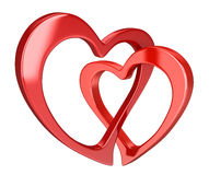 Two bound hearts (clipping path included) Stock Photos