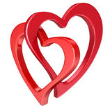 Two bound hearts (clipping path included) Royalty Free Stock Image