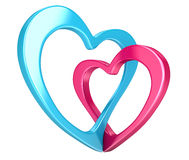 Two bound hearts (clipping path included) Royalty Free Stock Photos