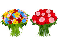 Two bouquet of flowers royalty free illustration