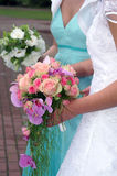 Two bouquets. Bride Holding Bouquet from rose stock photo