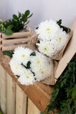 Two bouquets of white chrysanthemums Royalty Free Stock Images