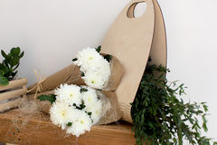 Two bouquets of white chrysanthemums Stock Photography
