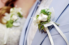 Two boutonnieres on wedding royalty free stock photos