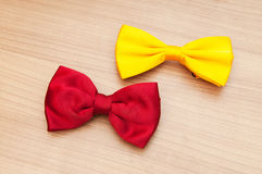 Two bow ties on the wood Stock Photos