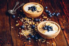 Two Bowl of Granola with Banana and Blueberry. royalty free stock photo