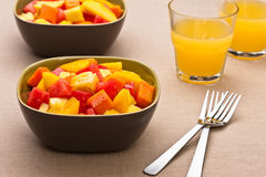 Two bowl of Mixed tropical fruit salad Royalty Free Stock Images