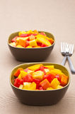 Two bowl of Mixed tropical fruit salad Stock Photography