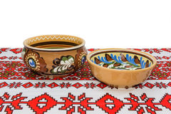 Two bowl on the tablecloth Stock Images
