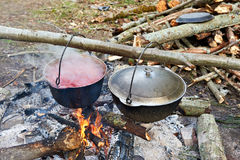 Two bowlers on campfire in hike. Bowler with a borsch on a campfire in a hike stock images