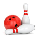 Two bowling pins and ball. Bowling ball with marble texture and pair of pins with red stripes isolated on white background. 3D illustration Royalty Free Stock Photography