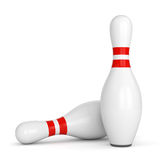 Two bowling pins. Bowling pins with red stripes isolated on white background. 3D illustration Stock Photos