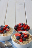 Two Bowls of Bircher Muesli Vertical Royalty Free Stock Photo