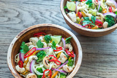 Two bowls of chicken noodle stir-fry Royalty Free Stock Photos