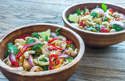 Two bowls of chicken noodle stir-fry Royalty Free Stock Photography
