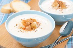 Two bowls of cold cauliflower soup with cottage cheese Stock Photos