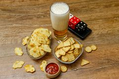 Crackers with beer and dice royalty free stock photos