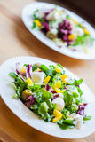 Two bowls of delicious fresh salad with mozzarella and pepper Stock Images