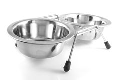 Two bowls with dog food and water Stock Images