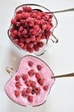 Two bowls of fresh raspberry foam desert Royalty Free Stock Images