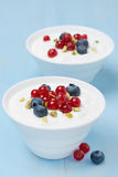 Two bowls of fresh sweet yogurt with berries and pistachios Royalty Free Stock Image