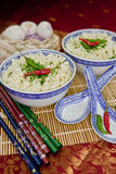 Two bowls with hot asian noodles Royalty Free Stock Image