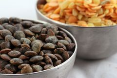 Two bowls of lentil Royalty Free Stock Photos