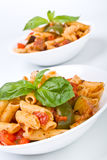 Two bowls of mediterranean pasta Royalty Free Stock Photography
