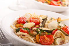 Two bowls of Mediterranean pasta Stock Photos