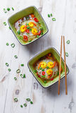 Two bowls of noodle soup with shrimp Royalty Free Stock Image