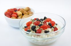 Two Bowls with Rice and Dried Fruit Isolated Stock Photography