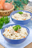 Two bowls Uzbek national dish pilaf Stock Images