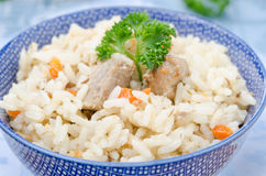 Two bowls Uzbek pilaf closeup horizontal Royalty Free Stock Photos
