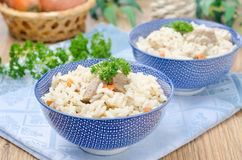 Two bowls Uzbek pilaf horizontal Stock Photography