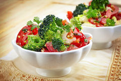 Two bowls of vegetable salad Stock Image