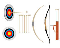 Two bows and arrows. And targets on a white background Stock Photo
