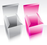 Two box pink and gray. With reflection Royalty Free Stock Photo